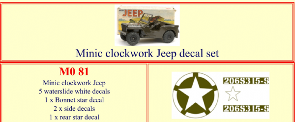M081 Tri-ang ( Triang ) Minic Clockwork Jeep decal set